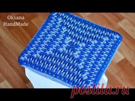 Чехол на табурет. МК крючком. Crocheted cover for stool