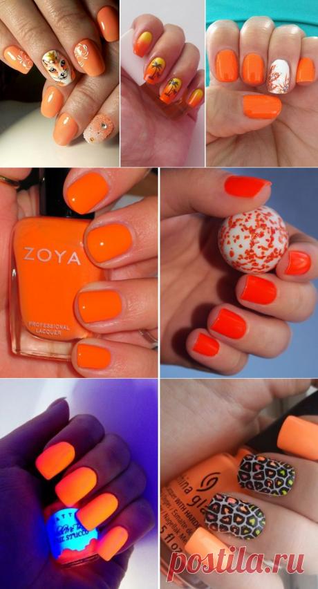 Красивый оранжевый маникюр − летний, яркий, неоновый, нежный, матовый, с дизайном, рисунком, стразами, блестками, французский, лунный, кошачий глаз, на коротких и длинных ногтях