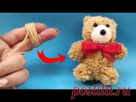 Как сделать пушистого Мишку из Ниток МК - YouTube