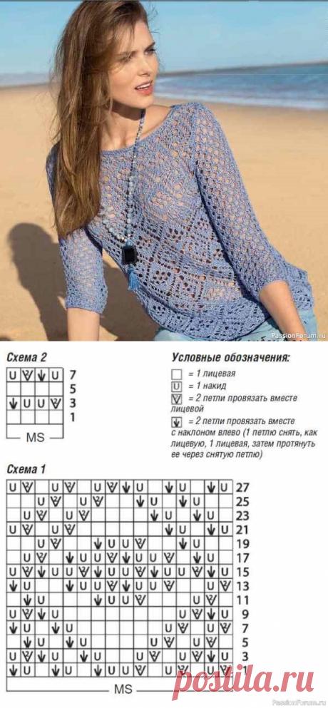 Пуловер с ажурным узором. Описание   Вязание для женщин спицами. Схемы вязания спицами