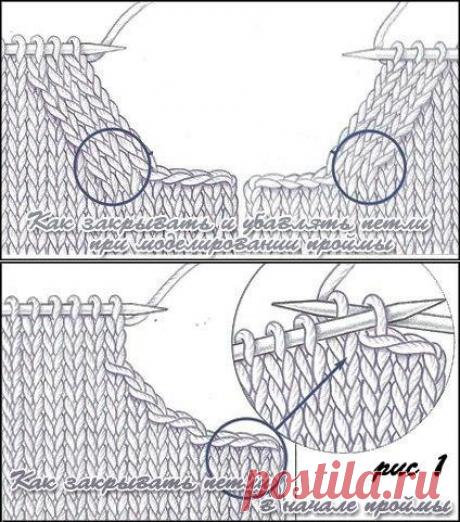 Делаем красивую пройму в вязаном изделии.МК.