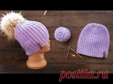 Шапочка рельефной резинкой спицами 🍇 Classic Knitted Ribbed Hat