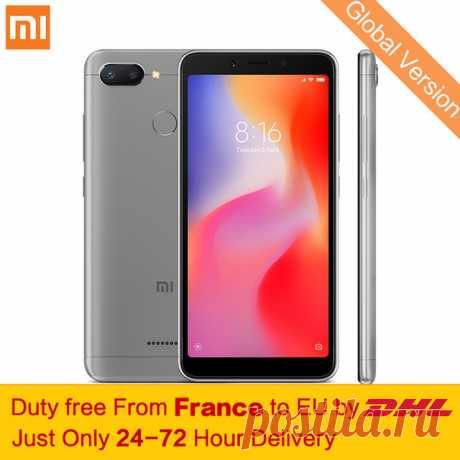 """Tax Free! Глобальная версия Xiaomi Redmi 6 4 ГБ 64 ГБ смартфон МТК Helio P22 Octa Core 5,45 """"18:9 полный Экран 12MP + 5MP двойной камеры купить на AliExpress"""