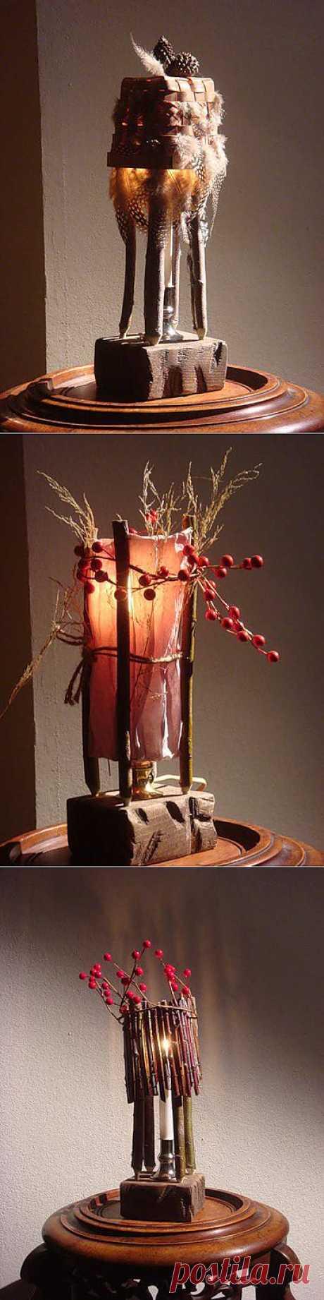 Лампы хендмейд из природных материалов