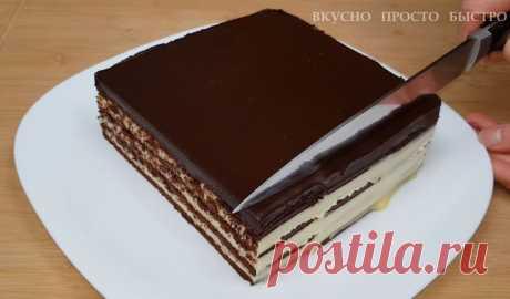 Торт из печенья. Потрясающе вкусный торт без духовки и без миксера | Вкусно Просто Быстро | Яндекс Дзен