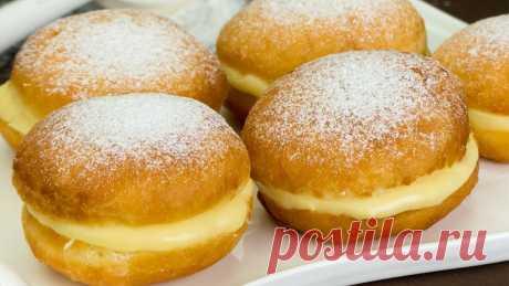 Простой рецепт пышных пончиков с молочным, заварным кремом.