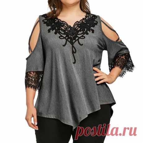 Летние женские топы и блузки размера плюс S 5XL, кружевные лоскутные Футболки с открытыми плечами, женские блузки с коротким рукавом | Блузки и рубашки