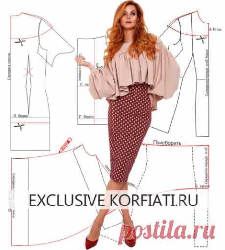 Выкройка блузки с рукавами и кокеткой от Анастасии Корфиати
