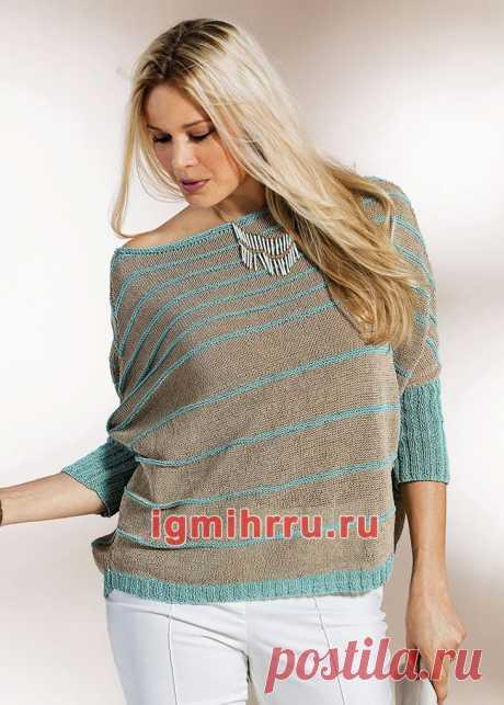 Для полных дам. Полосатый пуловер с рукавами «летучая мышь». Вязание спицами со схемами и описанием