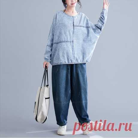 Light Blue Women Sweatshirts Denim Vintage Female Batwing Sleeve Tops - idetsnkf