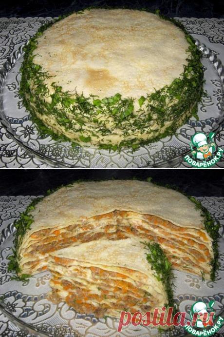 Блинно-мясной закусочный торт - кулинарный рецепт - Антрекот - большая кулинарная книга