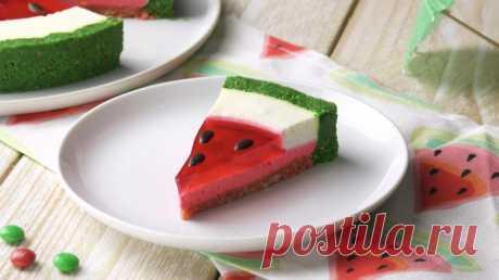 Торт с арбузным желе без выпечки. Сладкий шедевр: 8 идей оригинального декора для тортов.