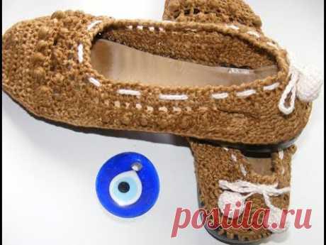 Вязаная обувь Как связать туфельки крючком  Ч2