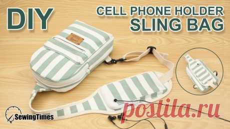 Сумка-слинг через плечо DIY  Сумка-мессенджер с держателем для мобильного телефона