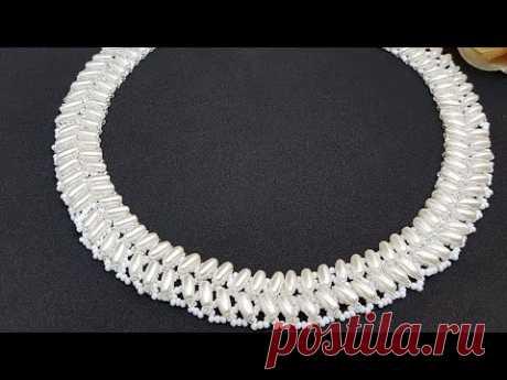 Beaded necklace/Pearl necklace/Колье из бусин и бисера/Жемчужное колье/Жемчужное ожерелье/Колье