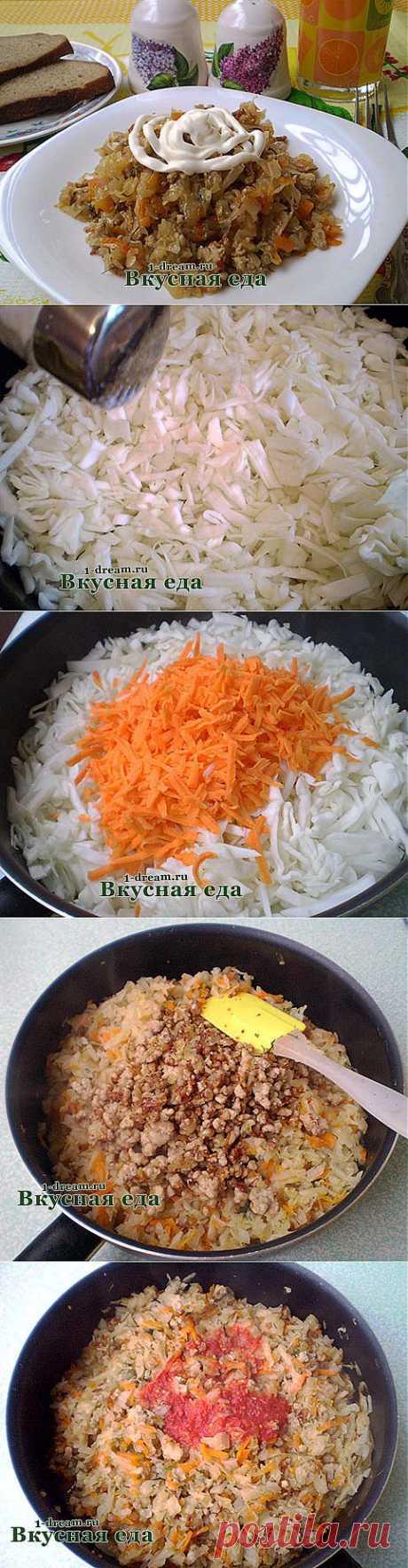 Капуста тушеная с мясом - рецепт  с мясом - Вкусная еда