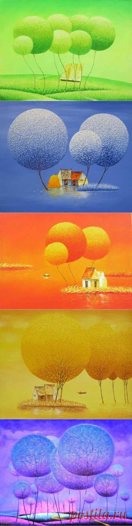Дерево-одуванчик, дерево-шар. Необычные пейзажи в творчестве Ву Цун Дьен (Vu Cong Dien).