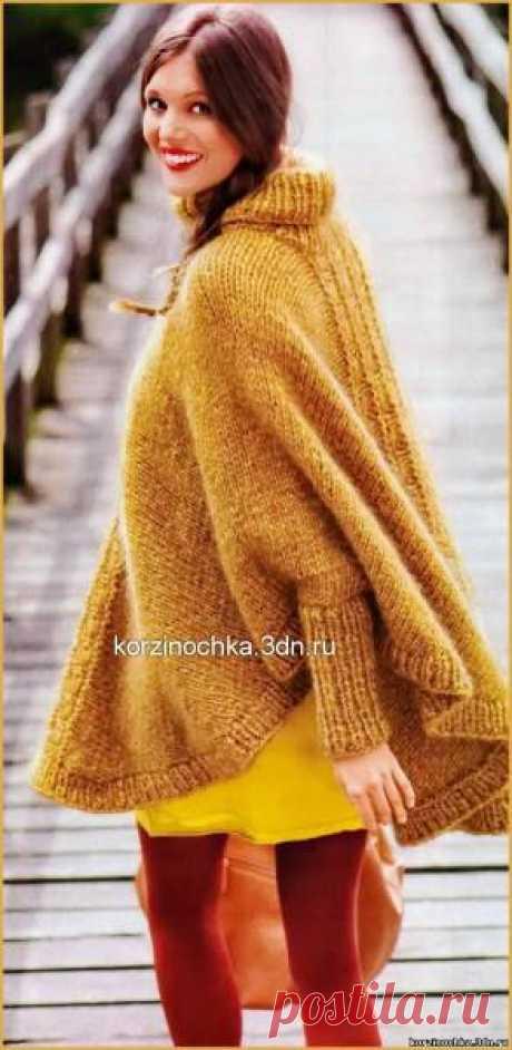 Связанное поперёк на спицах пончо - 8 Апреля 2015 - Вязание спицами, модели и схемы для вязания на спицах