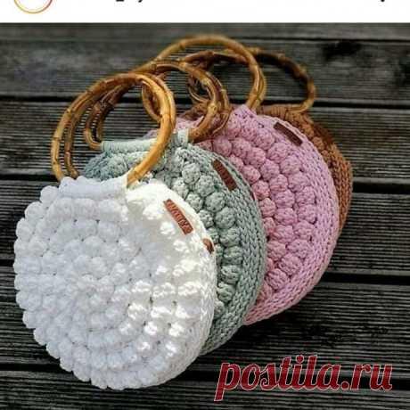 Круглая сумка крючком