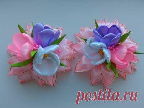 Нарядные Весенние бантики из лент МК Канзаши / Spring dressy ribbon bows Kanzashi MK