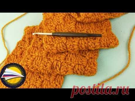 Зимний шарф крючком шахматным узором | Вязание из шерсти альпаки | Уроки по вязанию для начинающих