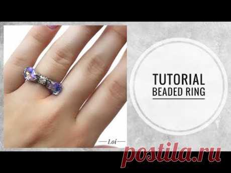 #МК - Кольцо из бисера с кристаллами в цапах   #Tutorial - Bead ring with crystals
