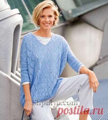 Ажурный пуловер с рукавами три четверти — Shpulya.com - схемы с описанием для вязания спицами и крючком