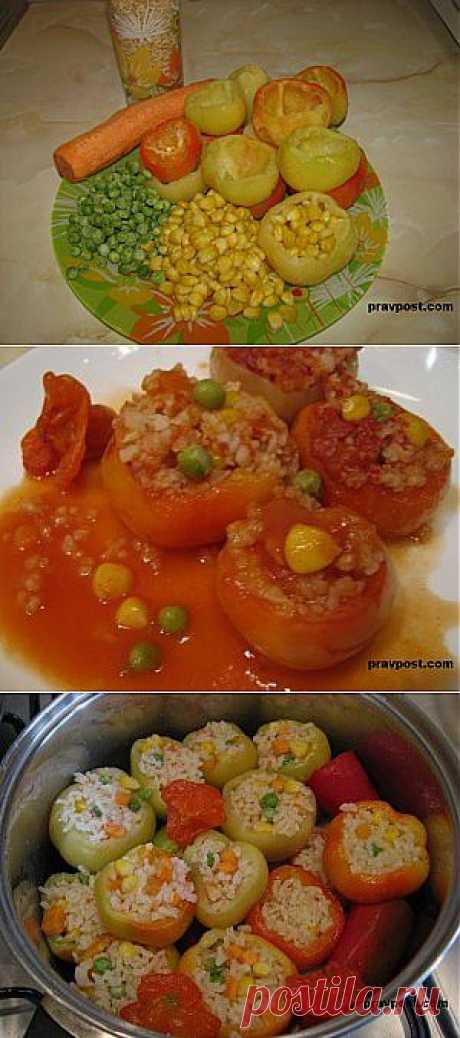 The fast stuffed paprika rice