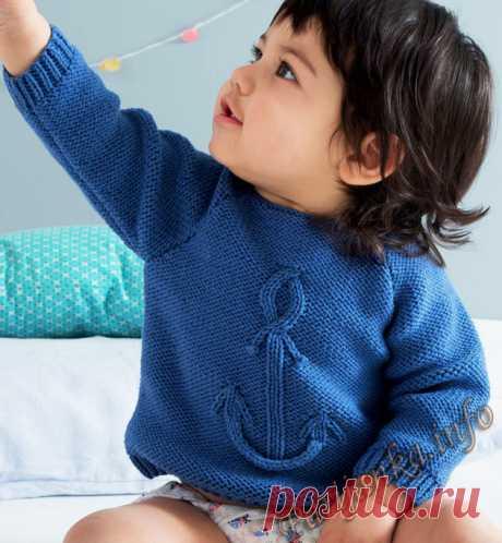 Пуловер с якорем (д) 24*122 Phildar №4722