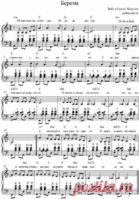 vse.urokimusic.ru Любэ Березы. Как играть на фортепиано. Уроки фортепиано. Уроки пианино  Hm      G   A   D   Hm Отчего так в России берёзы шумят G   A   D       Hm7 Отчего белоствольные всё понимают Em             F          G У дорог, прислонившись, по ветру стоят Em      F      Hm И листву так печально кидают  Я пойду по дороге простору я рад Может это лишь все, что я в жизни узнаю Отчего так печальные ли...