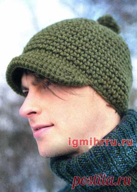 Мужская шапка с козырьком. Вязание крючком