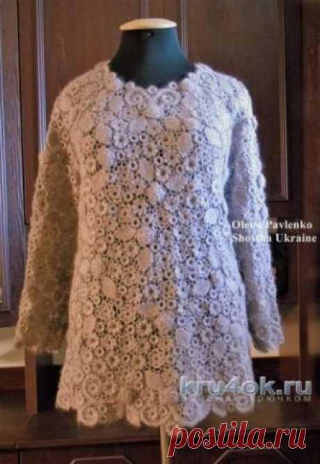 Пуловер Пыльная роза связан в технике ирландского кружева Работа связана по идее Сафины О. Использовалась пряжа мохер производства Италии. Мотивы вяжутся в две нитки, а сеточка в одну нитку. Размер пуловера по больше,