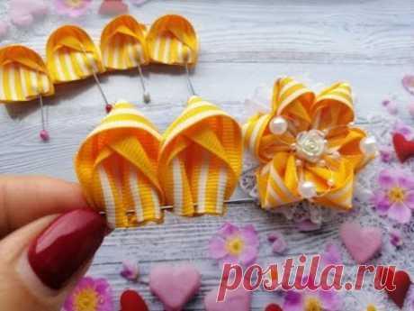 Милые бантики из репса и кружева 2,5 см. МК / Bows of ribbons 2.5 cm / Laços de fitas
