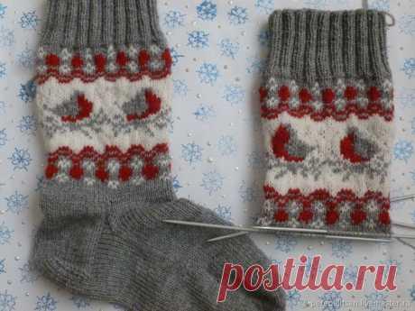 Вяжем носки «Снегири» – Ярмарка Мастеров