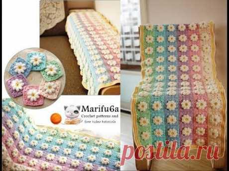 How to crochet rainbow afghan blanket free easy pattern tutorial for begginer