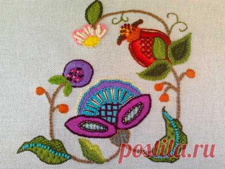Якобинская вышивка  Начиналась как вышивка шерстью, затем превратилась в изысканное вышивание шелком. Но цветочные орнаменты сохранились
