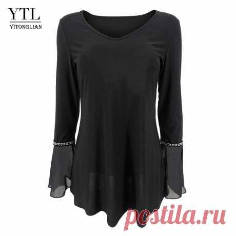 Yitonglian Женская шикарная блузка с расклешенными рукавами размера плюс Рабочая блузка Черная однотонная Туника Летние Осенние топы свободного кроя рубашка H371  | Блузки и рубашки