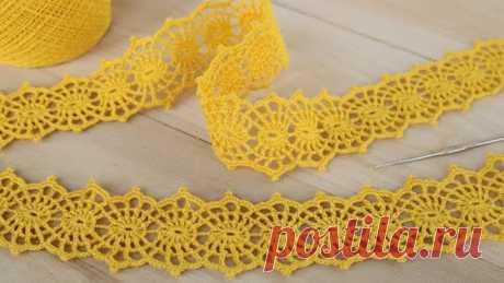 Вязание крючком ЛЕНТОЧНОЕ КРУЖЕВО мастер-класс ПРОСТОЕ ВЯЗАНИЕ для начинающих Ribbon Lace Crochet