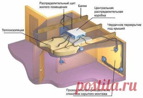 Укладка кабеля в пол и в потолок  Монтаж кабеля можно упростить, если предусмотреть в помещении подвесной потолок из гипсокартона из металлического каркаса. В этом случае вам не потребуется штробить во всю стену горизонтальную, провода спрячутся за гипсокартон, поведутся к стенам и опустятся вертикально книзу к нужным электрическим точкам.  Вы можете избежать бурения в стене отверстий под распаячную коробку, их можно разместить. Единственная проблема — в этом случае вам пр...