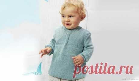 Пуловер для малышей 3 лет. Описание | Вязание спицами для детей Для маленьких модников и модниц мы вяжем только самое лучшее! Детский пуловер теплый и приятный на ощупь. Пуловер для мальчика 3 лет связан спицами, выкройка и схема вязания с описанием.Размер:на 3 годаМатериалы:150 г серо-голубой пряжи Cotton Soft (100% хлопка, 180 м/50 г); спицы № 2,5 и...