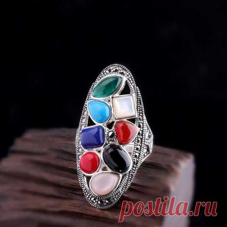 925 Silver Inlay Ring / Colorful Stone Ladies Ring / Vintage Bohemian Ring / Open Ring / Statement Rings / South Red Agate Ring / Party Ring Product Details:  Material: 925 silver, shell, agate, south red, lapis lazuli, turquoise  Color: colorful stone  Shape: ellipse  Size: Ring length: 4.0cm Width: 1.9cm  Weight: 9.5 grams  Translucent: translucent  Symbol: Good luck to you