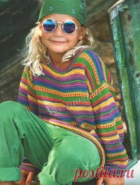 Пёстрый полосатый пуловер