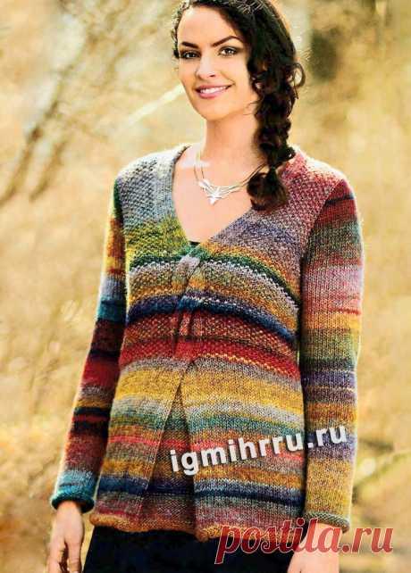 Меланжевый пуловер с центральной «косой». Вязание спицами со схемами и описанием