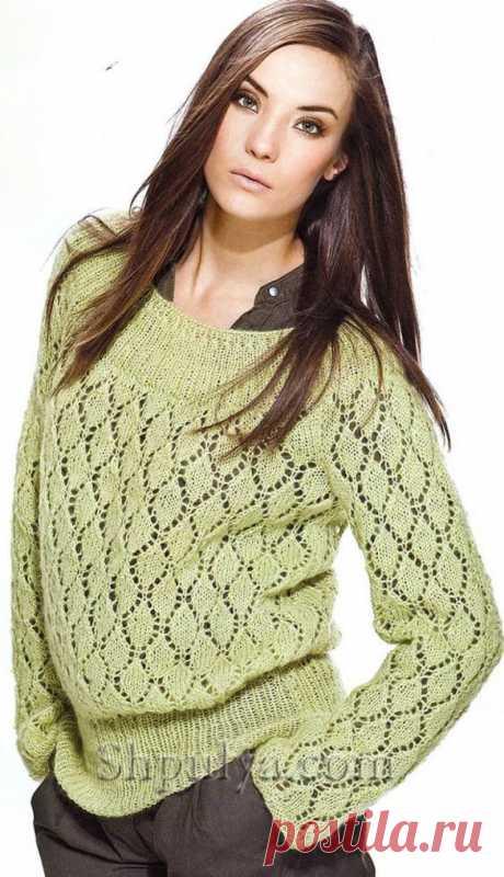 Зеленый ажурный пуловер,вязаный спицами