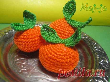 вязаные фрукты: вязаный мандарин