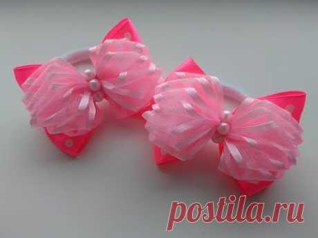 Пышные бантики из лент МК Канзаши / Lush bows of ribbons MK Kanzashi
