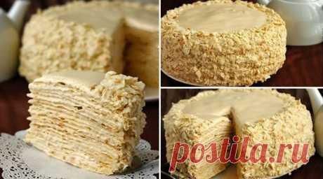 """La torta \""""Napoleón\"""" con la crema muy sabrosa"""