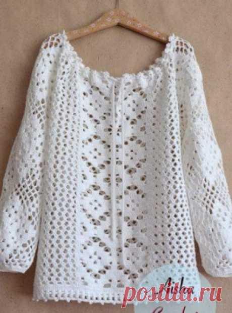 Блузка-туника крючком