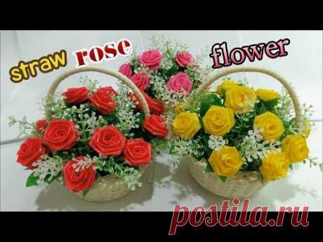 ดอกไม้จากหลอด ดอกกุหลาบจากหลอด by มายมิ้นท์ ROSE STRAW FLOWER
