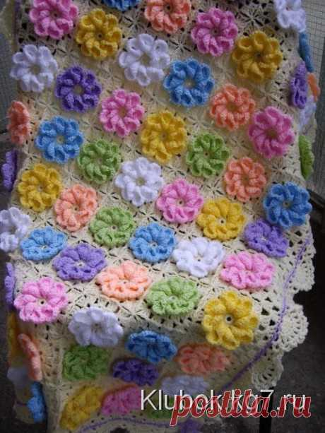 Схема вязания цветов в квадрате